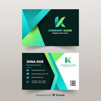 Plantilla de tarjeta de visita abstracta verde