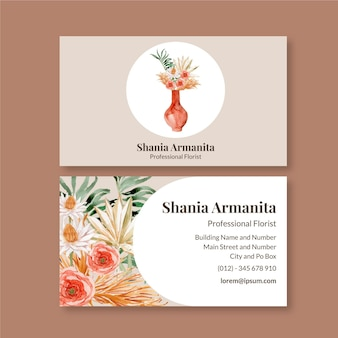 Plantilla de tarjeta de visita de acuarela boho