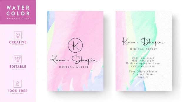 Plantilla de tarjeta de visita de acuarela - concepto de tarjeta de visita abstracta acuarela colorida
