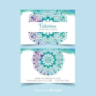 Plantilla de tarjeta de visita de acuarela mandala