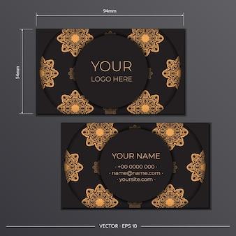 Plantilla de tarjeta de visita con adornos griegos. plantilla para diseño de impresión de tarjetas de visita en color negro con estampados vintage.