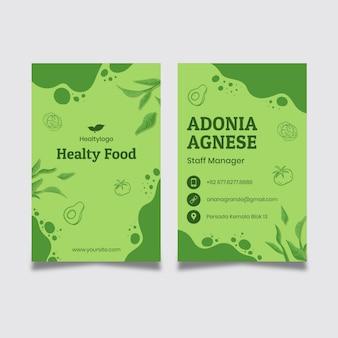 Plantilla de tarjeta de visita de alimentos saludables y bio