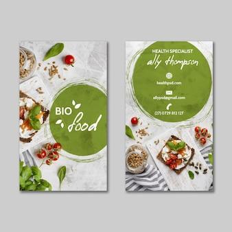 Plantilla de tarjeta de visita de alimentos saludables