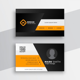 Plantilla de tarjeta de visita amarilla geométrica profesional