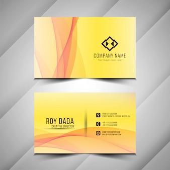 Plantilla de tarjeta de visita amarilla hermosa abstracta