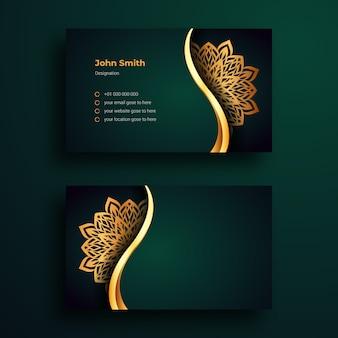 Plantilla de tarjeta de visita con arabesque mandala de lujo