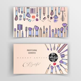 Plantilla de tarjeta de visita de artista de maquillaje.
