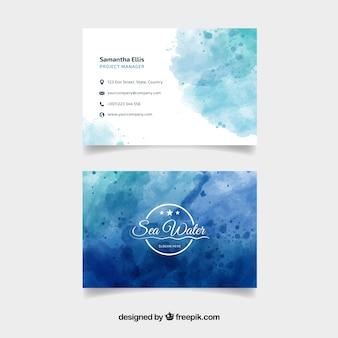 Plantilla de tarjeta de visita azul en acuarela