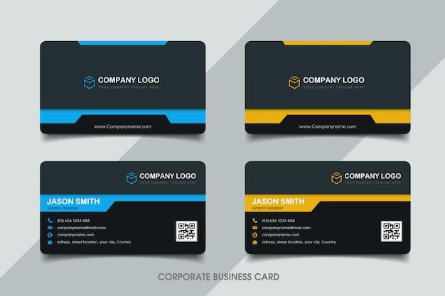Plantilla de tarjeta de visita azul y amarilla