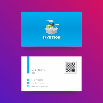 Plantilla de tarjeta de visita azul de la aplicación móvil inversionista moderno