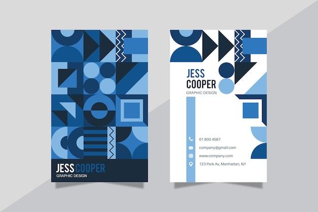 Plantilla de tarjeta de visita azul clásica abstracta