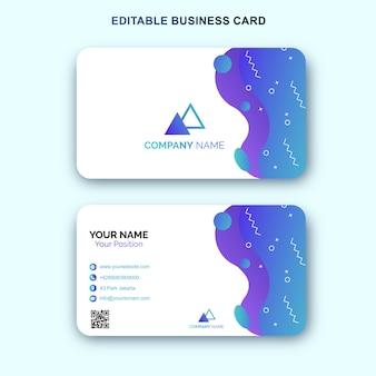 Plantilla de tarjeta de visita azul con diseño de memphis