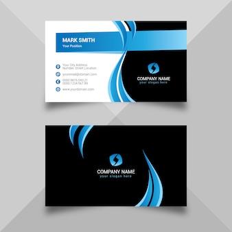 Plantilla de tarjeta de visita azul y negro