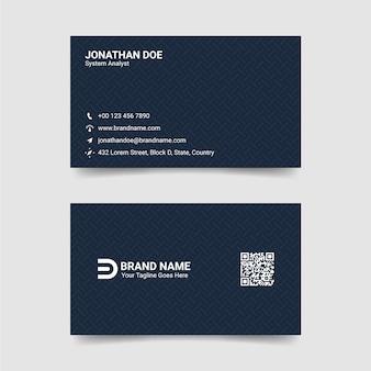 Plantilla de tarjeta de visita - azul negro