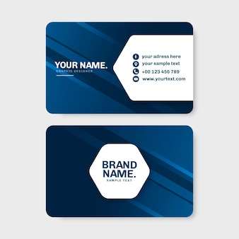 Plantilla de tarjeta de visita azul oscuro neumorph