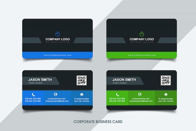 Plantilla de tarjeta de visita azul y verde
