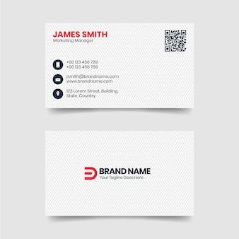 Plantilla de tarjeta de visita blanca moderna limpia y simple