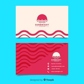 Plantilla de tarjeta de visita blanca y roja geométrica abstracta
