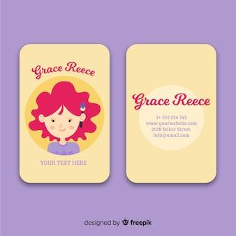 Plantilla de tarjeta de visita de carácter kawaii