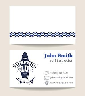 Plantilla de tarjeta de visita de club de surf con logo