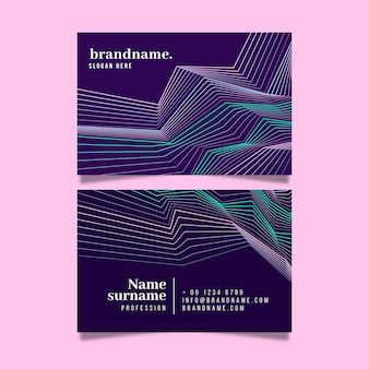 Plantilla de tarjeta de visita con colección de líneas distorsionadas