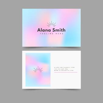 Plantilla de tarjeta de visita en colores pastel degradado azul y rosa