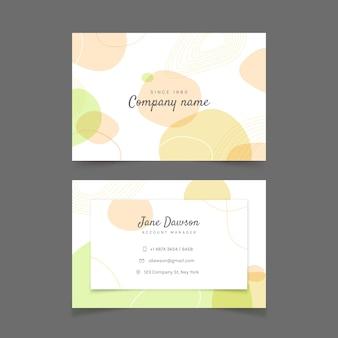 Plantilla de tarjeta de visita con colores pastel