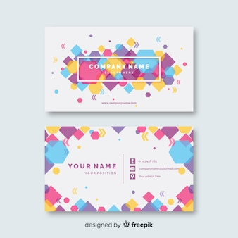 Plantilla de tarjeta de visita colorida abstracta de plantilla