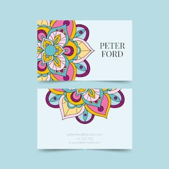 Plantilla de tarjeta de visita colorida mandala