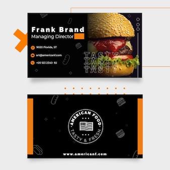 Plantilla de tarjeta de visita de comida americana