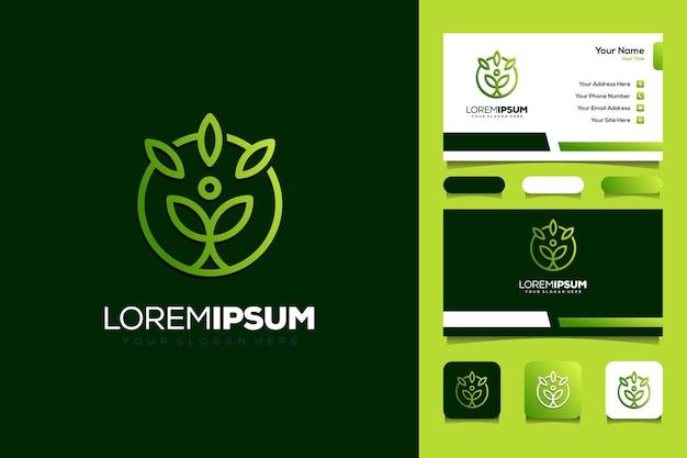 Plantilla de tarjeta de visita de concepto de logotipo de hoja de personas