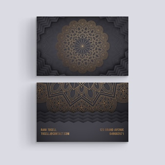 Plantilla de tarjeta de visita con concepto de mandala