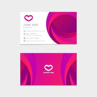 Plantilla de tarjeta de visita con corazón
