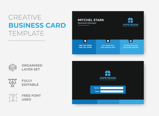 Plantilla de tarjeta de visita corporativa azul con diseño de tarjeta de visita de concepto moderno