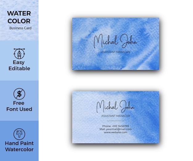 Plantilla de tarjeta de visita corporativa con textura de acuarela azul