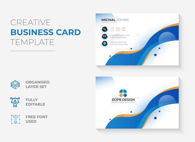 Plantilla de tarjeta de visita creativa abstracta vector premium