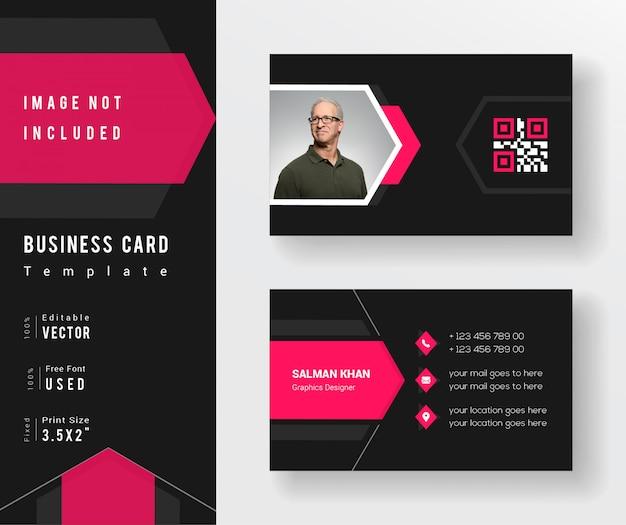 Plantilla de tarjeta de visita creativa de color rosa y negro
