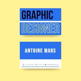 Plantilla de tarjeta de visita creativa del diseñador gráfico azul