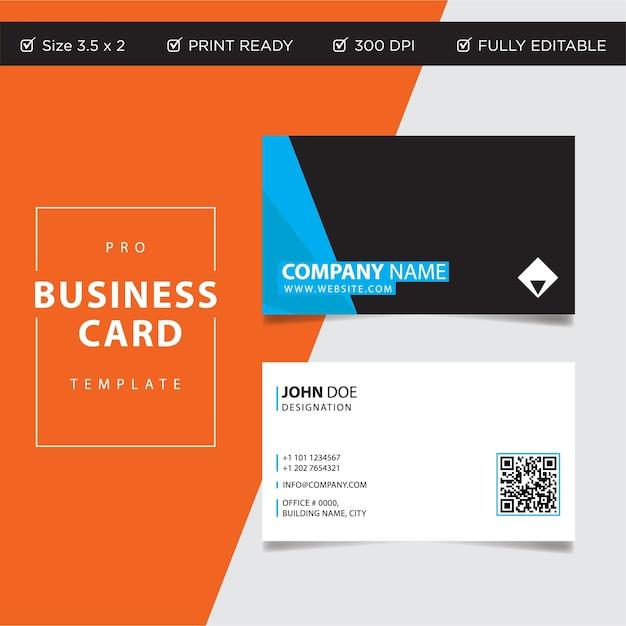 Plantilla de tarjeta de visita creativa y limpia moderna en diseño plano