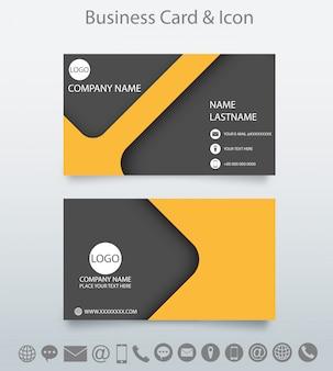 Plantilla de la tarjeta de visita creativa moderna y el icono.