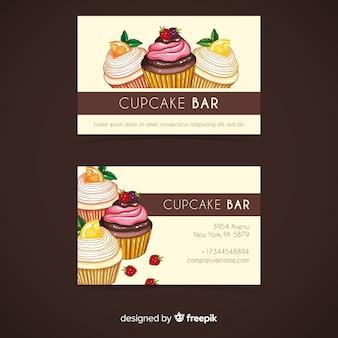 Plantilla de tarjeta de visita de cupcakes en acuarela