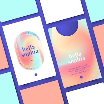 Plantilla de tarjeta de visita degradada colorida vector gratuito