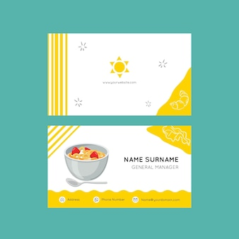 Plantilla de tarjeta de visita de desayuno