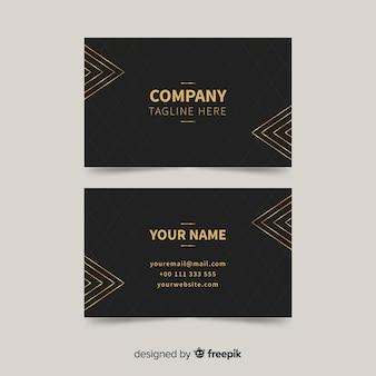 Plantilla de tarjeta de visita detalles dorados