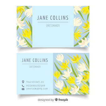 Plantilla de tarjeta de visita dibujada de estilo floral