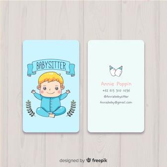 Plantilla de tarjeta de visita dibujada en estilo kawaii
