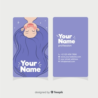Plantilla de tarjeta de visita dibujada de estilo kawaii