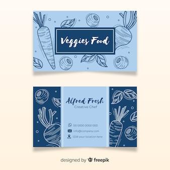 Plantilla de tarjeta de visita dibujada de restaurante