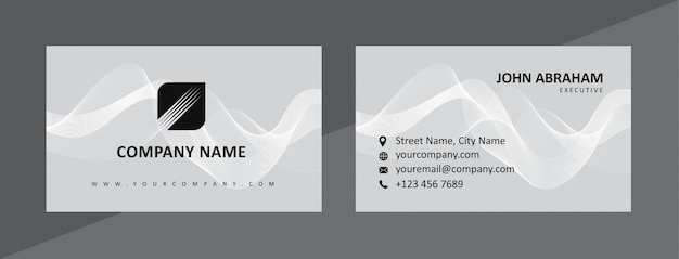 Plantilla de tarjeta de visita dinámica natural en negro y gris
