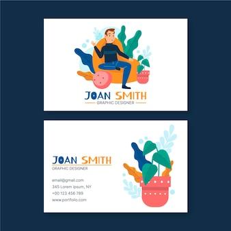 Plantilla de tarjeta de visita de diseñador gráfico